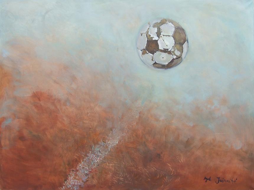 """Agnė Juškaitė. """"Išmestas kamuolys (tokį jį ir radau)"""", drobė, aliejus, 90 x 120, 2005. Neribotą laiką eksponuojamas """"Literatūros ir meno"""" redakcijoje."""