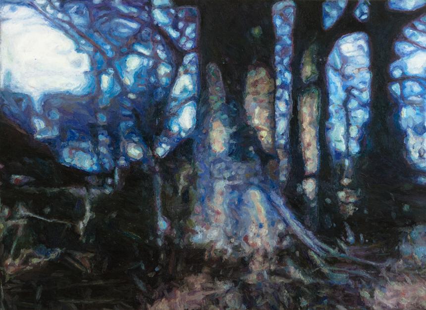 """Petras Lincevičius. """"Rytas Dabrišių sodyboje"""", drobė, aliejus, 123 x 170, 2016.  Baroti galerijoje (Aukštoji g. 1, Klaipėda) veikia P. Lincevičiaus tapybos paroda """"Prisijaukinti mėlyną spalvą""""."""