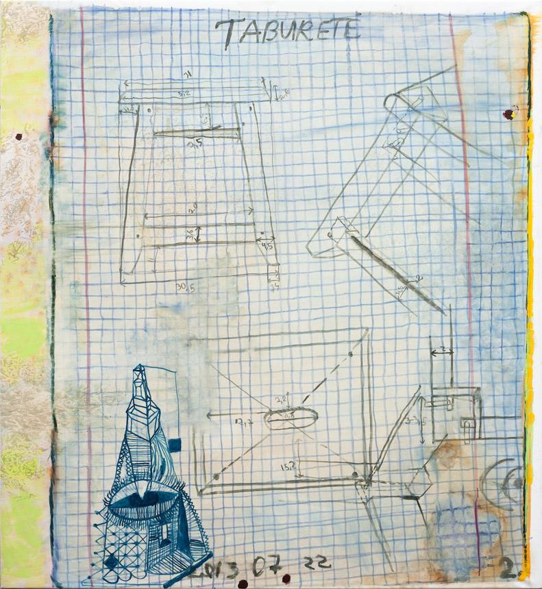 """Petras Lincevičius. """"Taburetė'', drobė, aliejus, 139 x 150, 2013"""