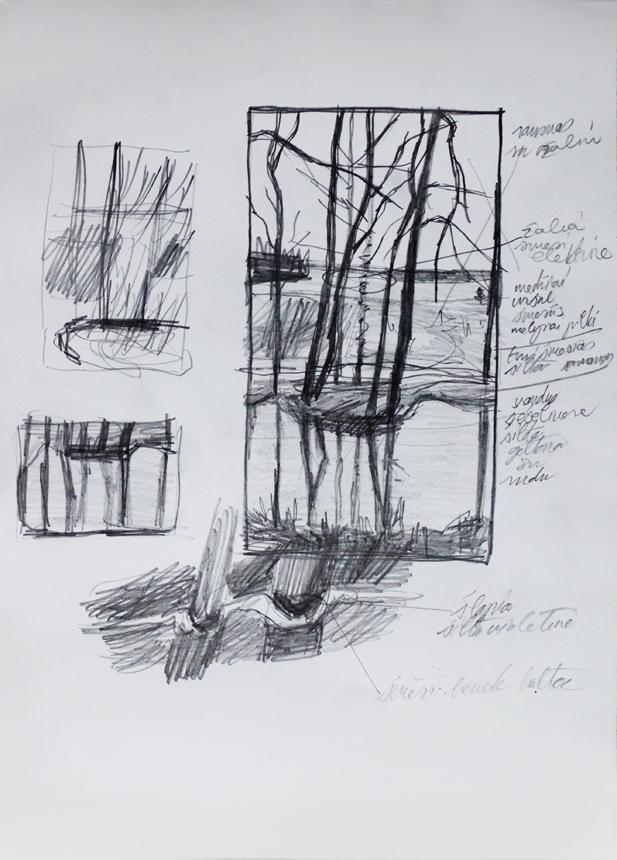 """Petras Lincevičius. Tapybos darbo """"Lietinga diena"""" eskizas (grafitinis pieštukas, popierius, 32 x 23, 2016)"""