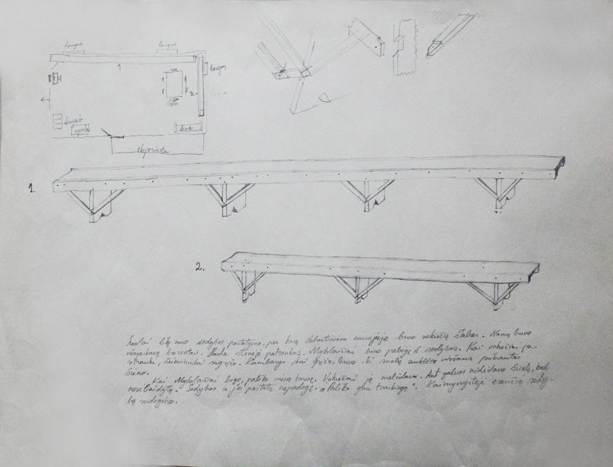 Petras Lincevičius. Vinco Mykolaičio-Putino gimtosios sodybos-muziejaus eksponatai (suolai). Grafitinis pieštukas, popierius, 26,3 x 34,7, 2016