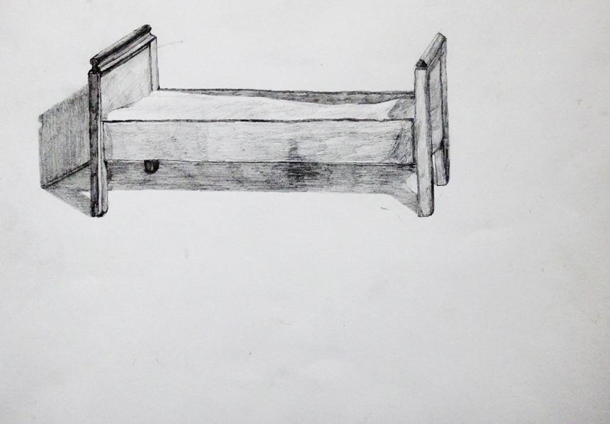 Petras Lincevičius. Vinco Mykolaičio-Putino gimtosios sodybos-muziejaus svirnas, durys ir lova.  popierius, grafitinis pieštukas, 2016