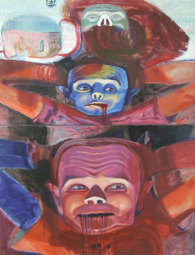 """Raimondas Gailiūnas. """"Žiūrėk ir nieko nematyk"""", drobė, aliejus, 2011"""