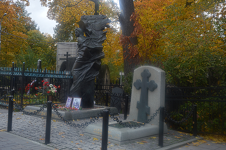 Vladimiro Vysockio antkapinis paminklas Vagankovo kapinėse 2016 m. Skulptorius Aleksandras Rukavišnikovas. V. Girininkienės nuotraukos
