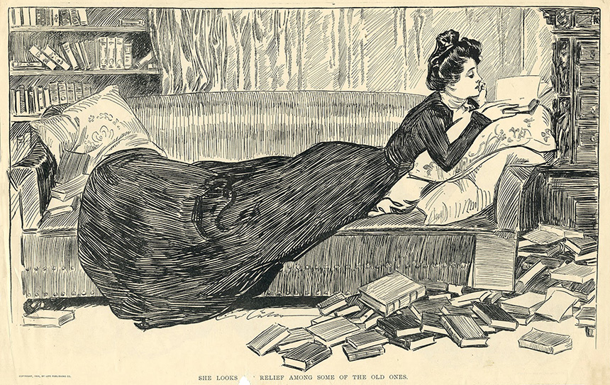 """Charles Dana Gibson. """"Ji ieško paguodos tarp senienų"""", pieštukas, rašalas, 1900"""