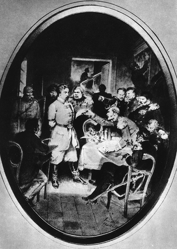 """Zigmanto Sierakausko teismo interpretacija. Z. Sierakausko dešinėje –  M. Muravjovas. Priekyje su """"įkalčiu"""" rankoje įsiutęs pulkininkas A. Losevas. Dail. M. E. Andriolis. Piešinys pieštuku saugomas Varšuvos karo muziejuje."""