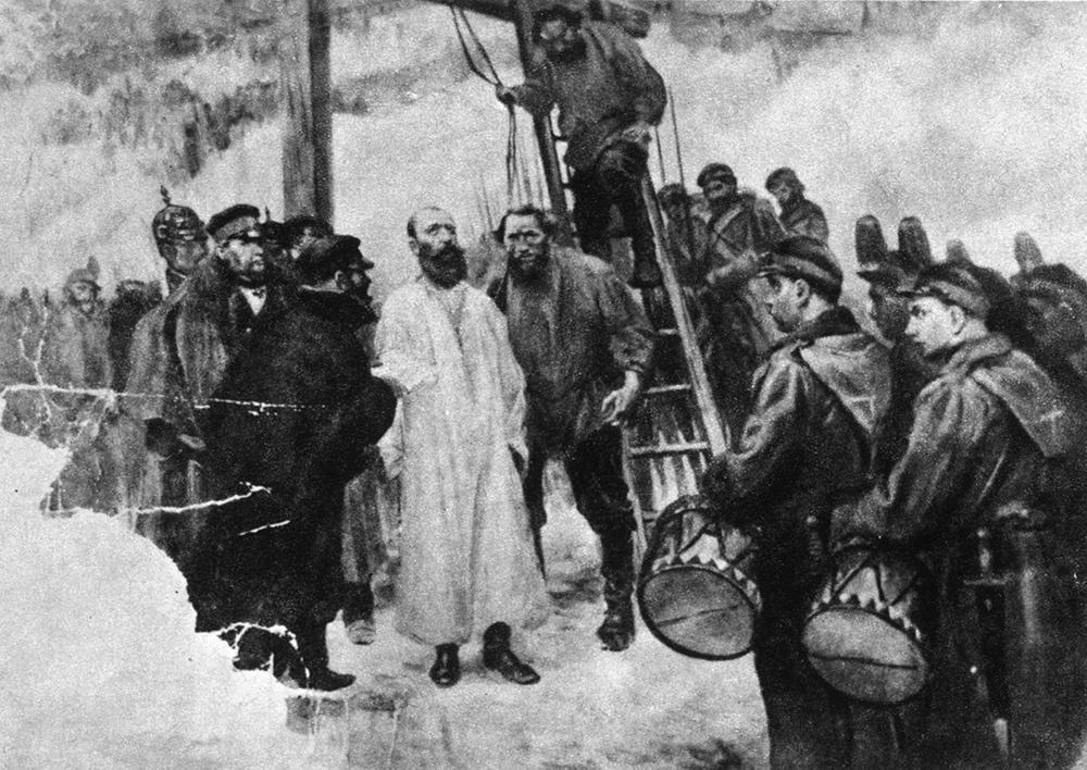 """Sukilimo vadovo kunigo Antano Mackevičiaus egzekucija Kaune 1863 m. gruodžio 18 d. S. Strumph Wojtkiewicy. """"Powstanie styczniowe"""". – Warszawa, 1963, p. 189."""