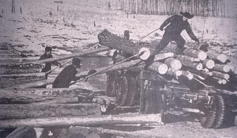"""""""Ozerlago"""" (ypatingojo lagerio """"Ozernyj"""") kaliniai kerta mišką ir tiesia Taišeto-Lenos geležinkelį apie 1950 m. Vladimiro Ablamskio nuotrauka iš www.pribaikal.ru"""