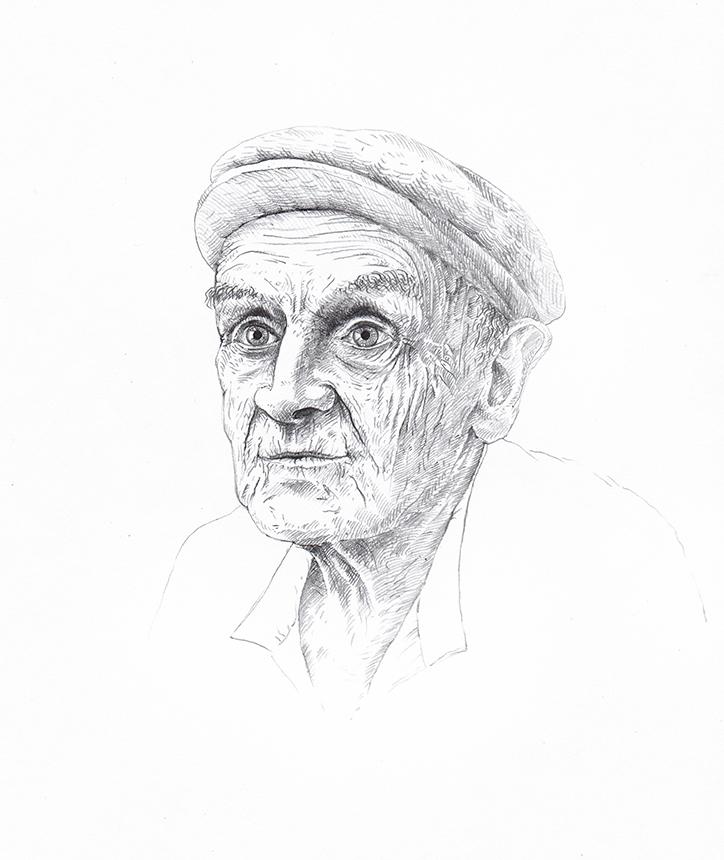 Senis iš pagirio. Jono Liugailos piešinys