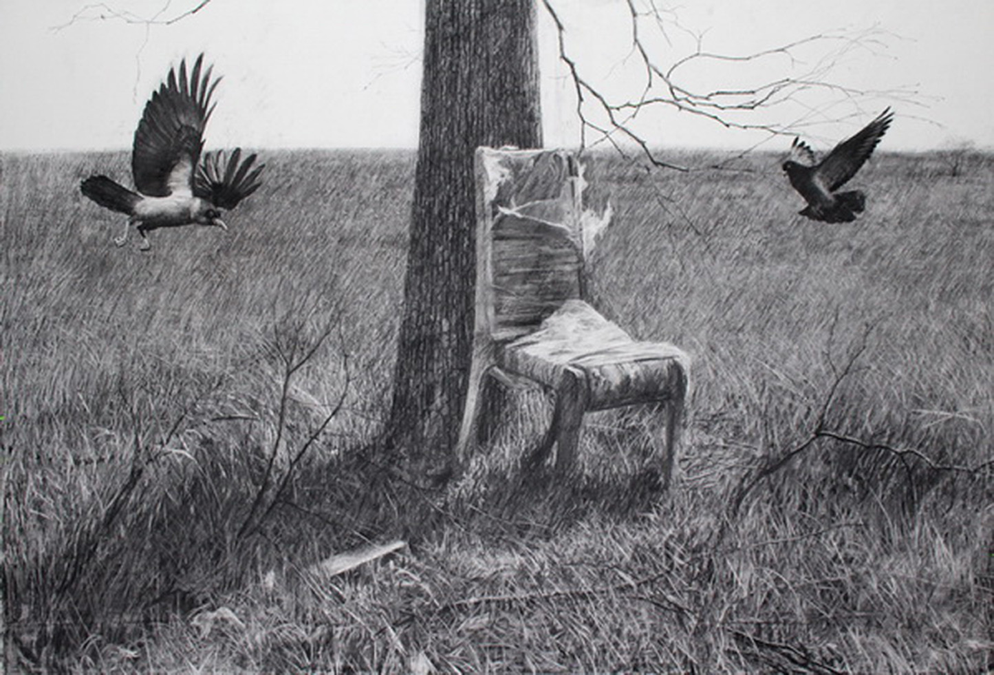 """Rustamas Mirzojevas. """"Kėdė"""", akrilas, anglis, drobė, 2014"""