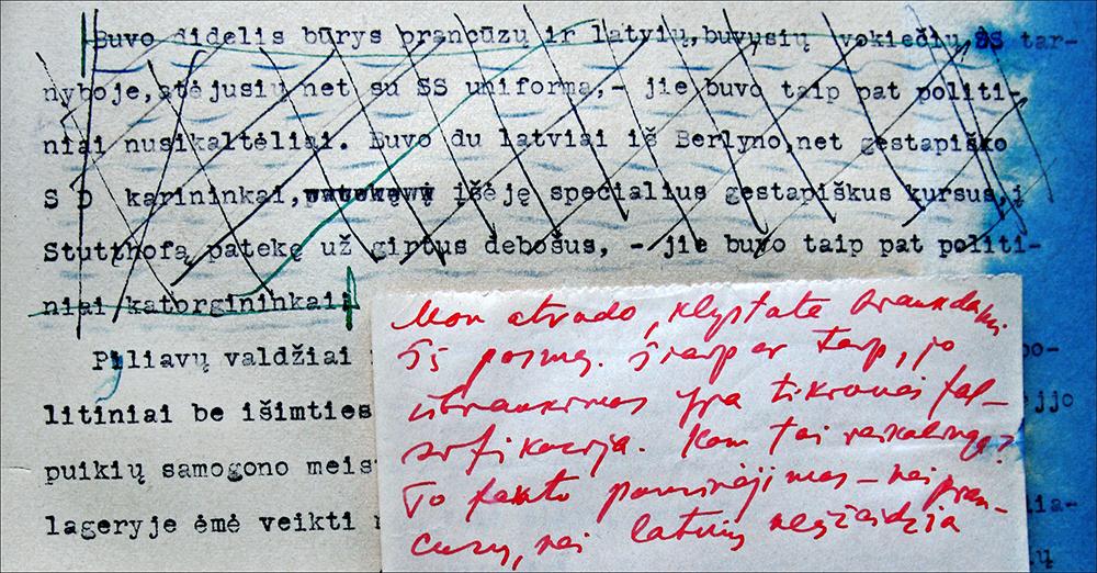 """8 pav. """"Dievų miško"""" mašinraštis su redaktoriaus taisymais ir autoriaus komentarais, 1945–1946 m., LLTIB RS, f. 53, b. 8, p. 186."""