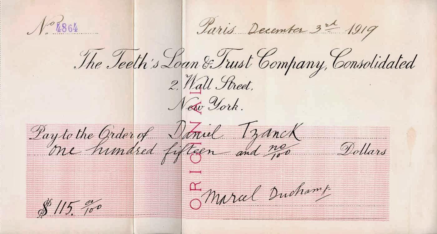 Marcel Duchamp. Tzankos čekis, 1919 m.