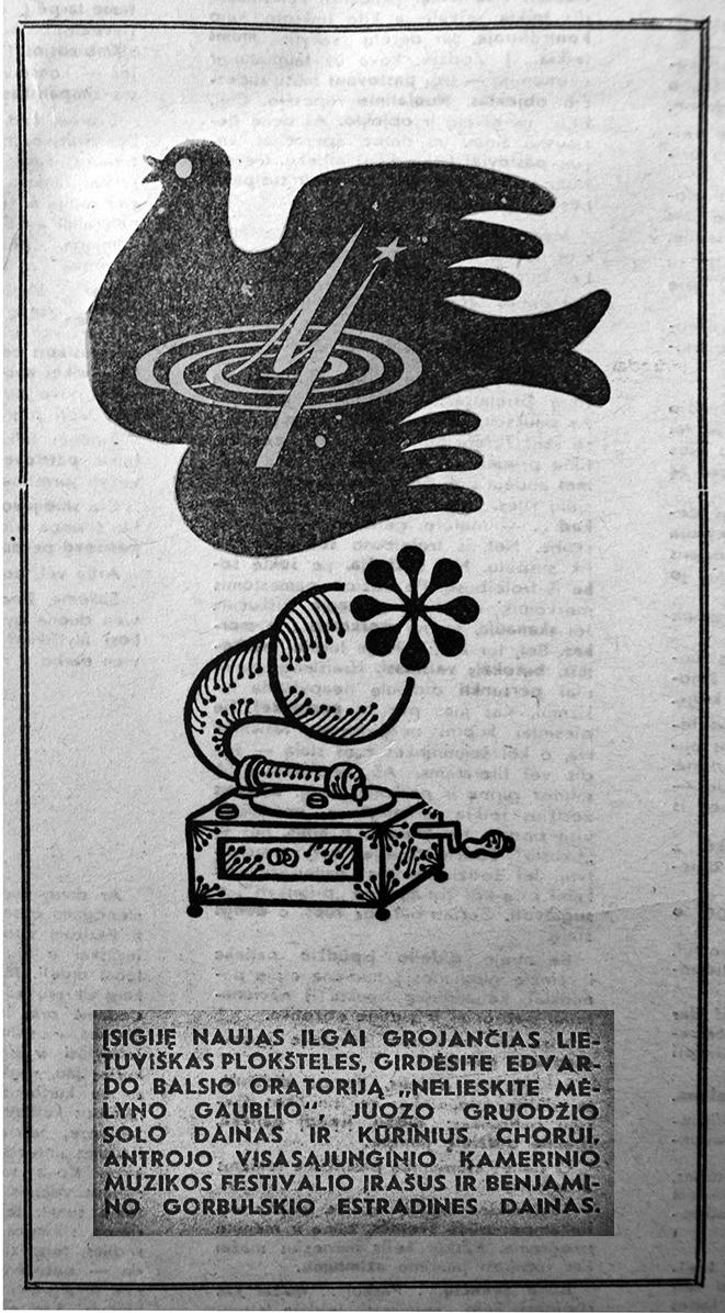 """3 pav. Lietuviškų plokštelių reklama savaitraštyje """"Kalba Vilnius"""", Nr. 24 (1335), 1972 m. birželis, p. 7"""