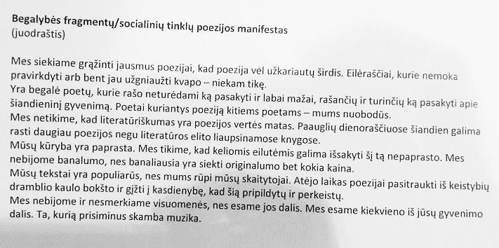 """Manifesto autorius Tomas Taškauskas 2017-ųjų Vilniaus knygų mugėje šį tekstą perskaitė per """"socialinių tinklų šekspyrų"""", t. y. knygų """"Begalybės fragmentai"""" ir """"Meilė etc."""" pristatymą"""