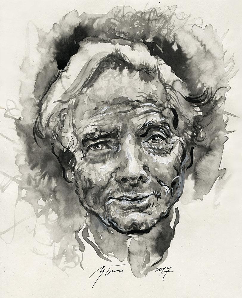 Williamas Stanley Merwinas. Ugnės Žilytės piešinys