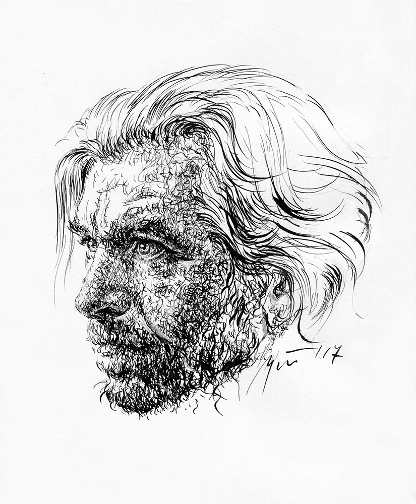 Karlas Ove Knausgårdas. Ugnės Žilytės piešinys