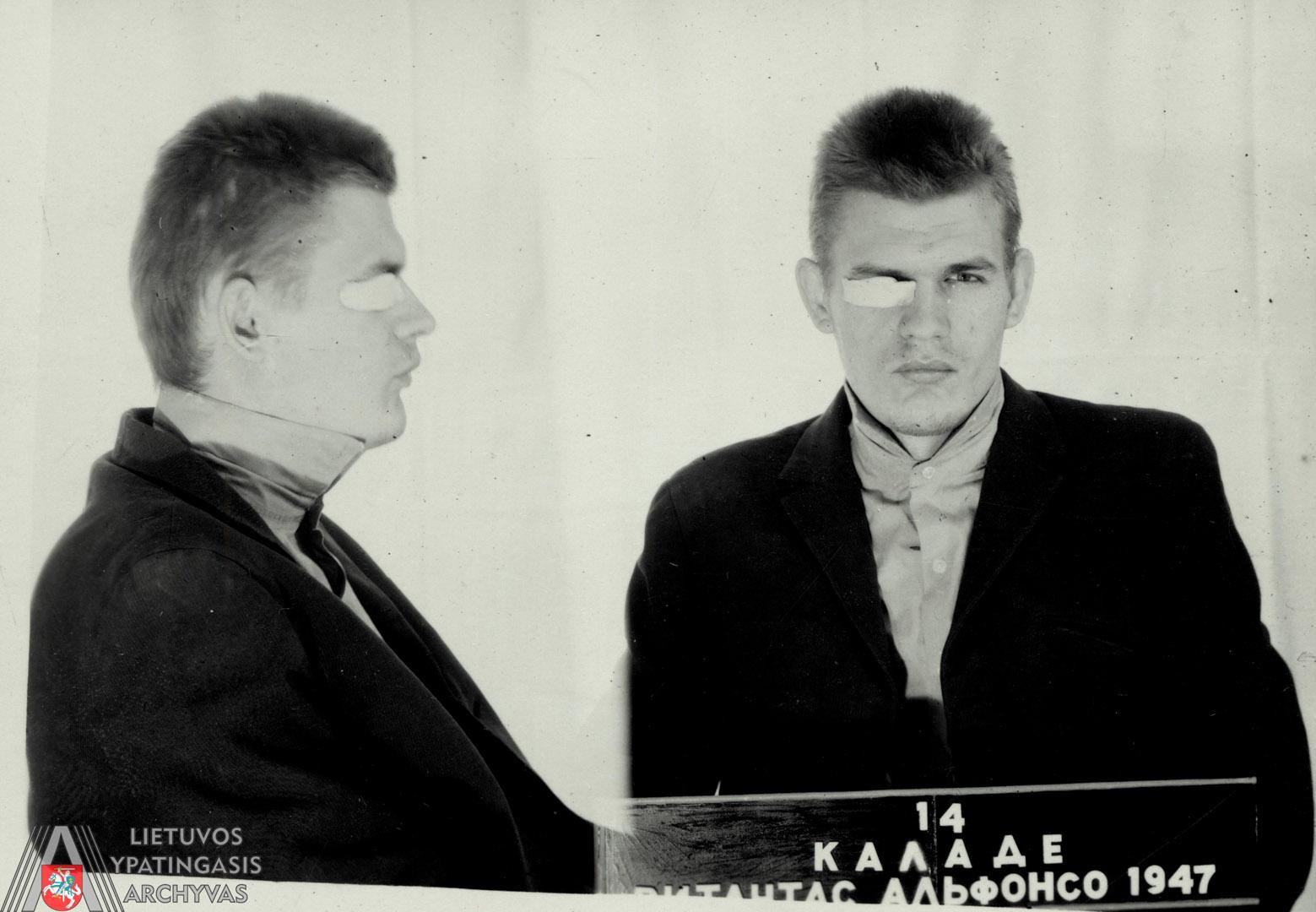 Vilniaus miesto Spalio rajono darbo žmonių deputatų tarybos Vykdomojo komiteto Vidaus reikalų skyriuje 1972 m. gegužės 19 d. daryta suimtojo Vytauto Kaladės nuotrauka. Lietuvos ypatingasis archyvas, f. K-1, ap. 58, b. 47644/3, t. 1, l. 104