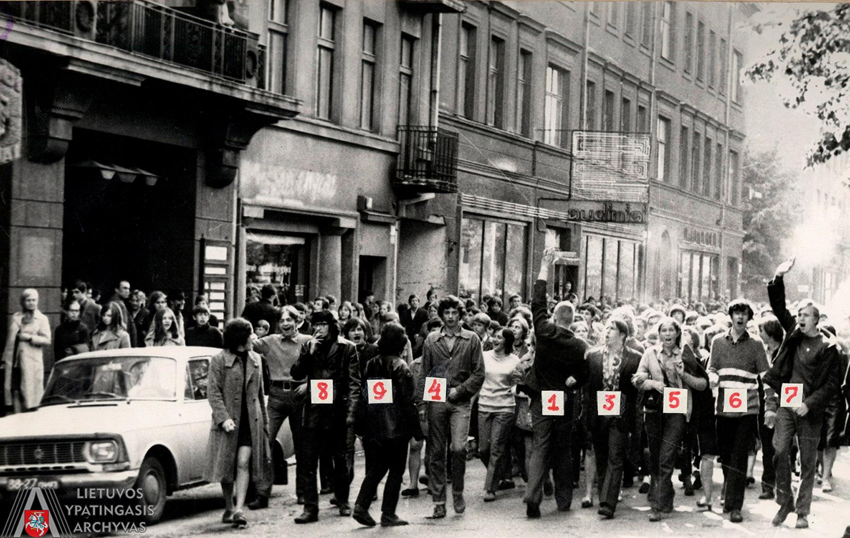 Eitynės Laisvės alėja. 1972 m. gegužės 18 d. Nr. 1 pažymėtas Vytautas Kaladė. Lietuvos ypatingasis archyvas, f. K-1, ap. 58, b. 476 44/3, t. 1, l. 90