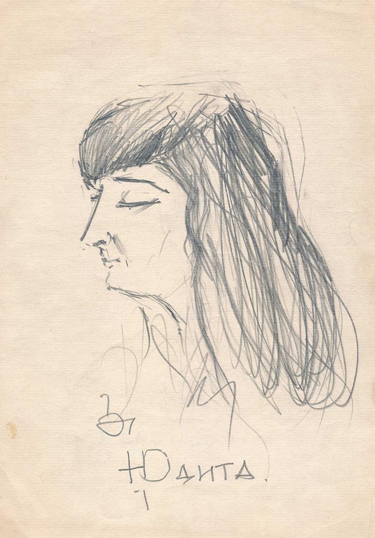Givio Todadzės piešta J. Vaičiūnaitė. Iš Maironio lietuvių literatūros muziejaus archyvo