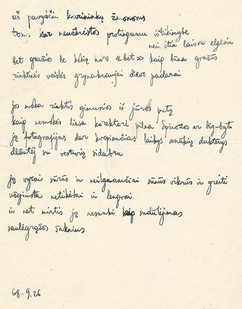 J. Vaičiūnaitės eilėraščio faksimilė. Iš Maironio lietuvių literatūros muziejaus archyvo