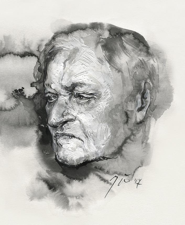 John Ashbery. Ugnės Žilytės piešinys