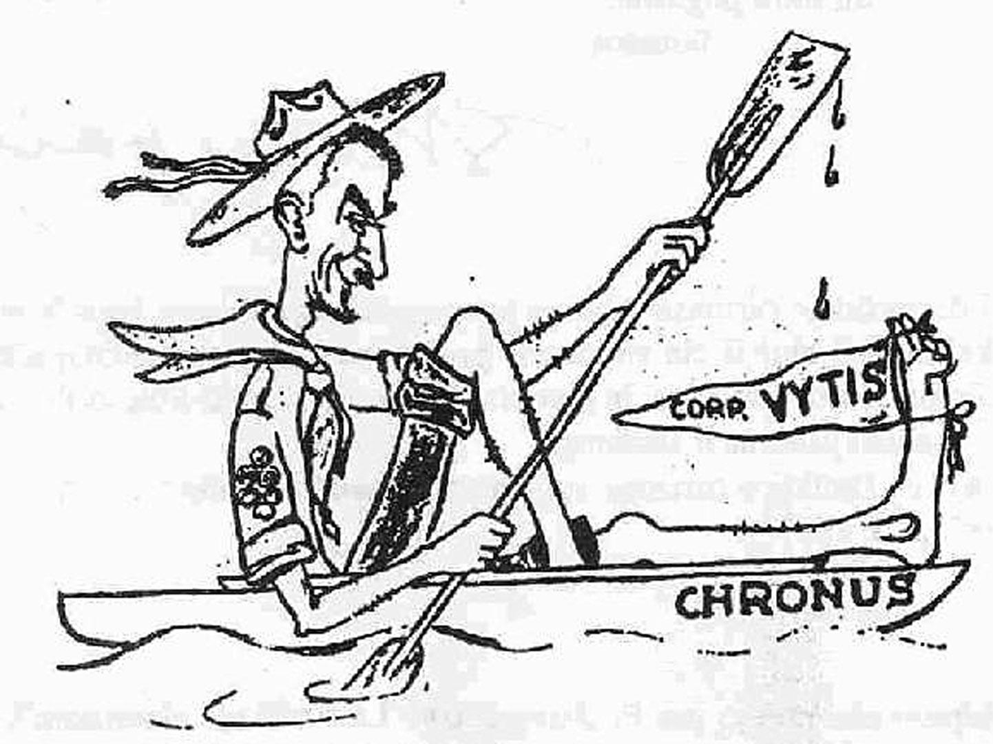 """S. Kolupaila savo baidarę buvo pavadinęs """"Chronus"""" (pagal spėjamą Nemuno pavadinimą Ptolemėjo žemėlapyje). Č. Kudaba, prisimena, kad 1966 m., su kolegomis keliaujant Nerimi laivu, ant kurio buvo užrašyta """"Profesorius Steponas Kolupaila"""", daugelis pakrančių gyventojų (ypač Baltarusijoje) prisiminė Kolupailos pavardę ir jo legendinę """"Chronus"""" baidarę, kuria jis kelis kartus čia buvo plaukęs apie 1940 m. V. Raulinaičio šaržas"""