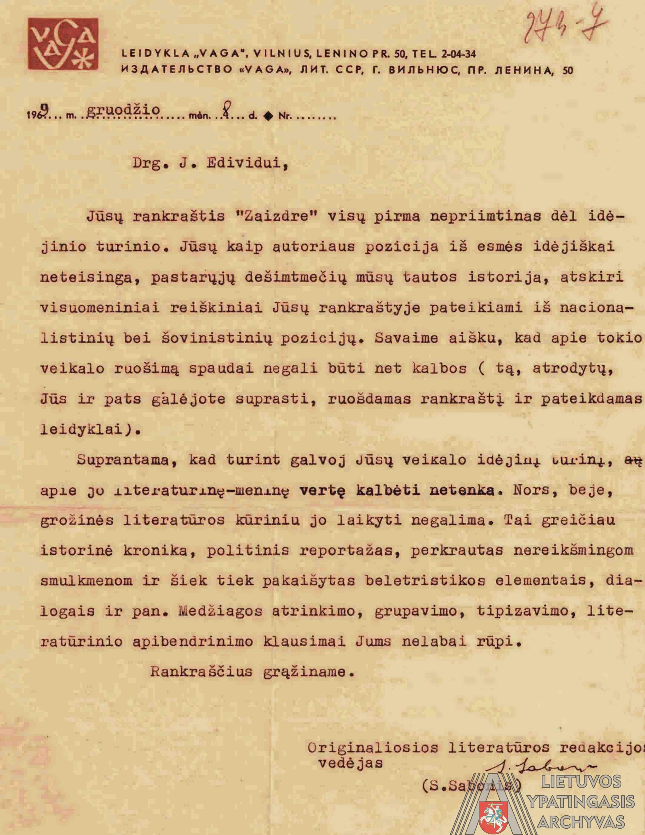 """Valstybinės leidyklos """"Vaga"""" Originaliosios literatūros redakcijos vedėjo Stasio Sabonio 1969 m. gruodžio 8 d. raštas J. Edivido slapyvardžiu pasirašiusiam Jonui Laucei dėl romano """"Žaizdre"""" rankraščio. Lietuvos ypatingasis archyvas, f. K-1, ap. 1, b. Nr. 11802, t. 1, l. 273-7."""