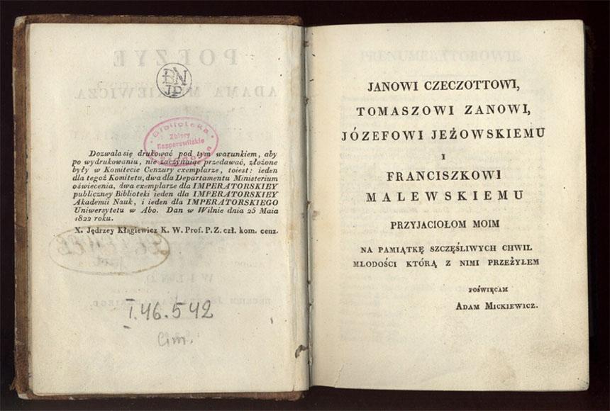 A. Mickevičiaus dedikacija debiutiniame poezijos rinkinyje