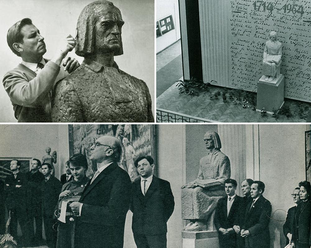 4 pav. K. Donelaičio skulptūra: a) K. Bogdano dirbtuvėje, 1963 m., M. Baranausko nuotr., b) Respublikinėje bibliotekoje, 1964 m., S. Ramunio nuotr., c) ataskaitiniame LTSR dailininkų sąjungos susirinkime, 1963 m., M. Fligelio nuotr.