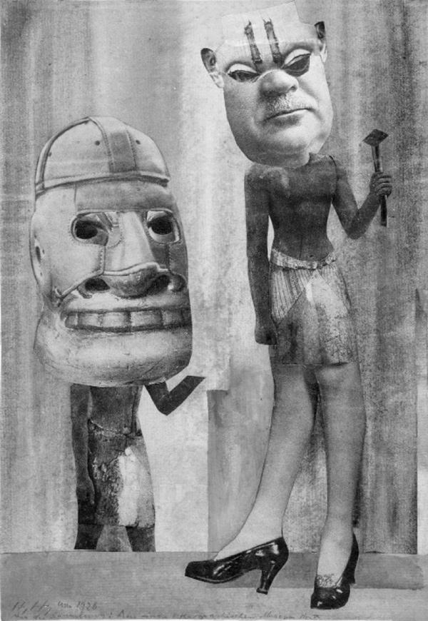 """Hannah Höch. """"Iš kolekcijos: iš vieno etnografijos muziejaus Nr. IX"""", 1929"""