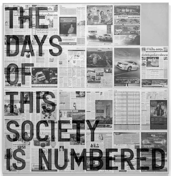 """Rirkrit Tiravanija. Be pavadinimo (""""Šios visuomenės dienos suskaičiuotos / 2012 m. gruodžio 7 d."""", 2014"""
