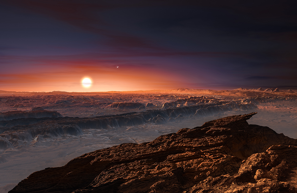 Vienos iš septynių žvaigždės TRAPPIST-1 planetų paviršius. Iš ESO, M. Kornmesser archyvų