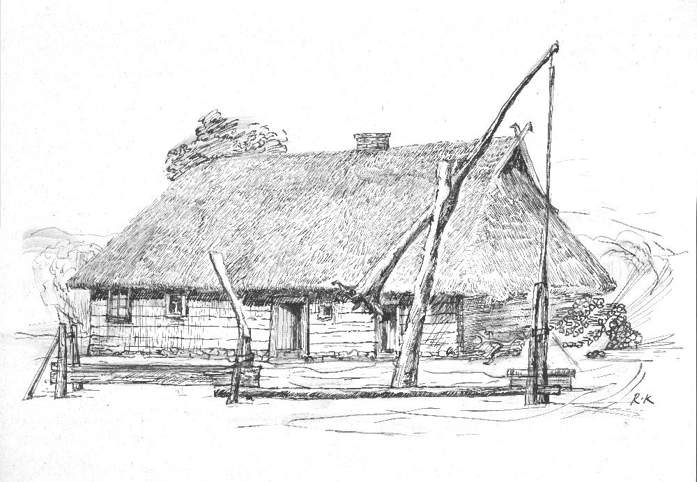 S. Daukanto tėviškės gyvenamasis namas Kalviuose. Pagal XIX a. pabaigos nuotrauką nupiešė dail. Ramūnas Krupauskas. 2017 m.