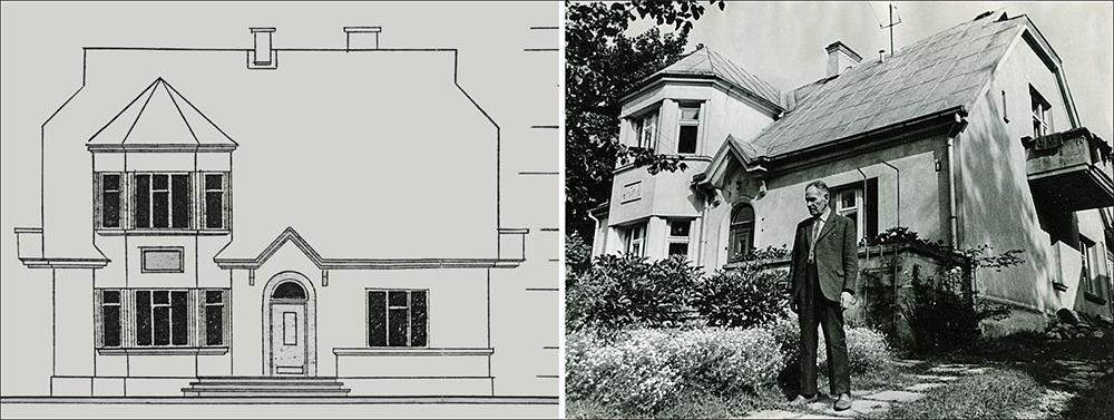 4 pav. Gyvenamojo namo Jūratės g. 8 fasado projektas, arch. E. Budreika, 1953 m., iš G. Filipavičienės archyvo.  5 pav. P. Aleksandravičius prie savo namo Jūratės g. 8, 1972 m., M. Gudovskio nuotrauka iš G. Filipavičienės archyvo