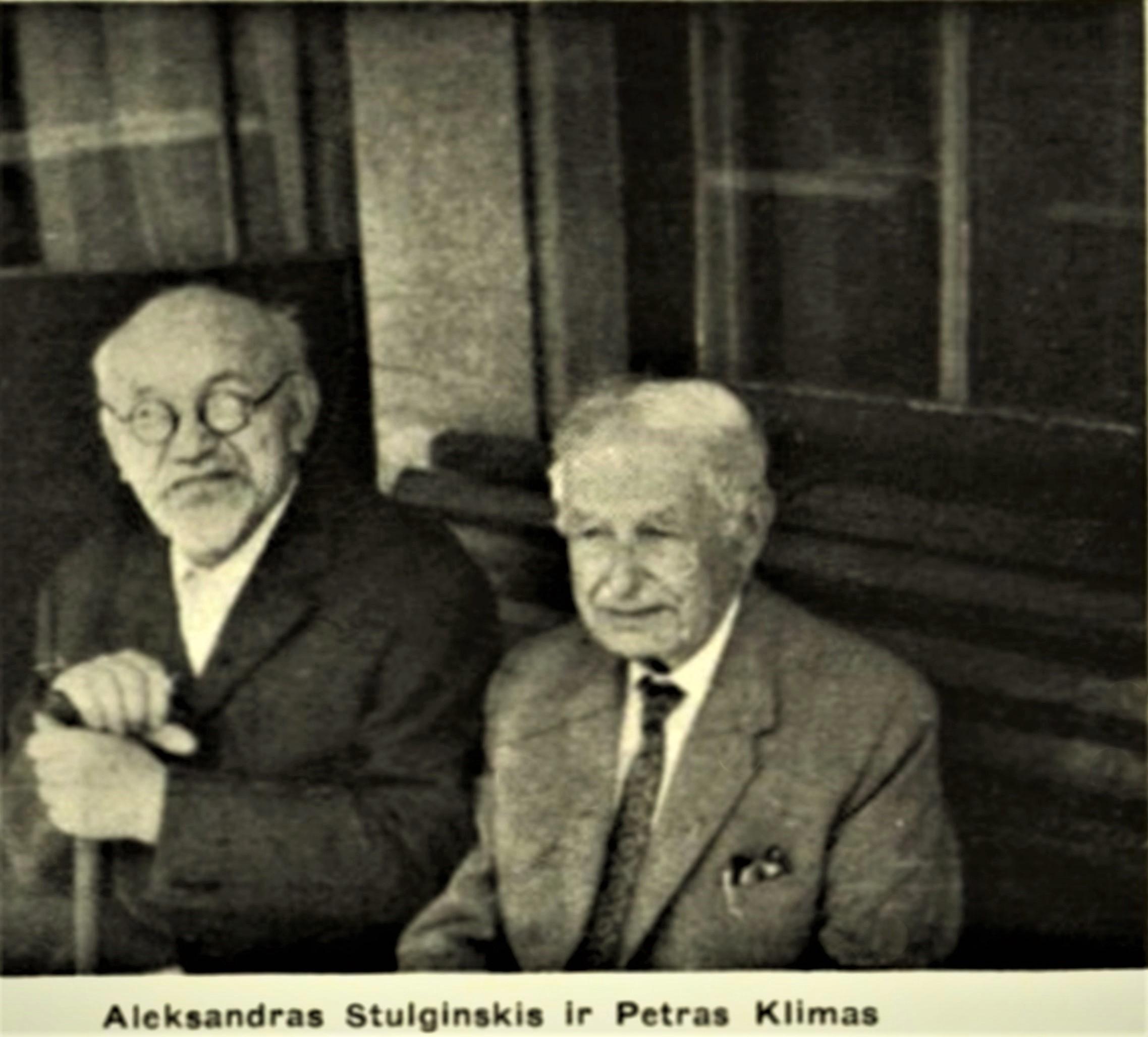 """A. Stulginskis ir P. Klimas Kaune apie 1967 m. Skelbta: """"Tėvynės sargas"""", 1969, Nr. 1. Lietuvos nacionalinė M. Mažvydo biblioteka senas.lnb.lt/lnb/selectPage.do?docLocator=ADE86687143411E2ACFB746164617373& inlanguage=lt"""