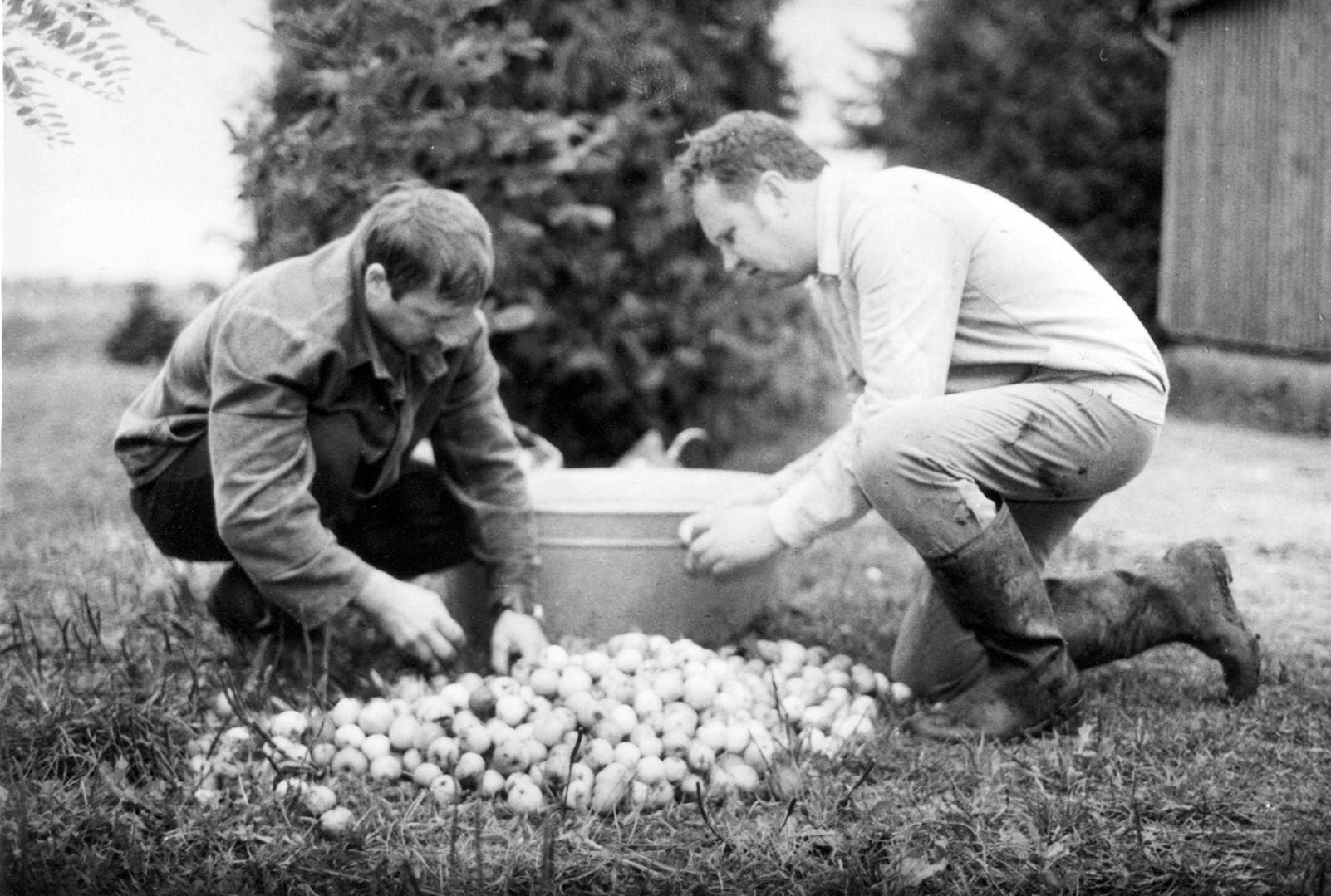 S. Jonauskas (dešinėje) žmonos Stasės gimtinėje Žebrokuose su svainiu Adomu Pociumi 1991 m.  Nuotraukos iš asmeninio S. Jonausko archyvo
