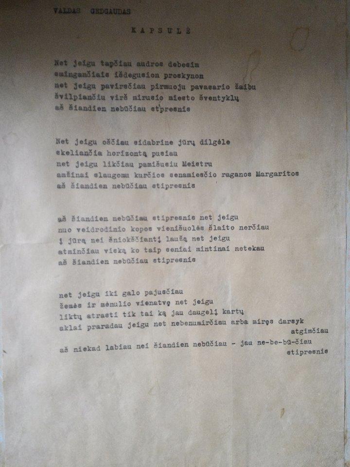 V. Gedgaudo eilėraščio mašinraštis, apie 1995–1996 m.