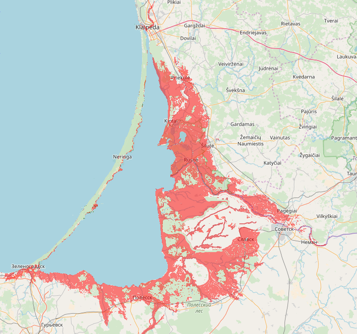 1958 m. potvynio apsemti sausumos plotai Nemuno deltoje ir Kuršių marių pakrantėse (situacija atkurta pagal Algirdo Rainio duomenis, naudojant www.heywhatsthat.com/layers.html)