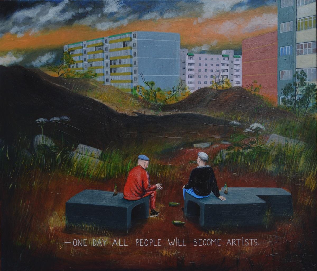 """Aleksejaus Gordino paveikslas  """"Wastelands"""" (2018), """"Kogo"""" galerijos eksponuotas  """"ArtVilniuje"""""""
