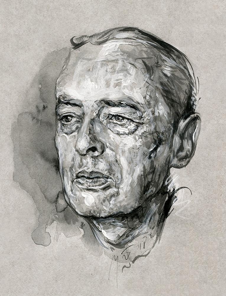 Witoldas Gombrowiczius. Ugnės Žilytės piešinys