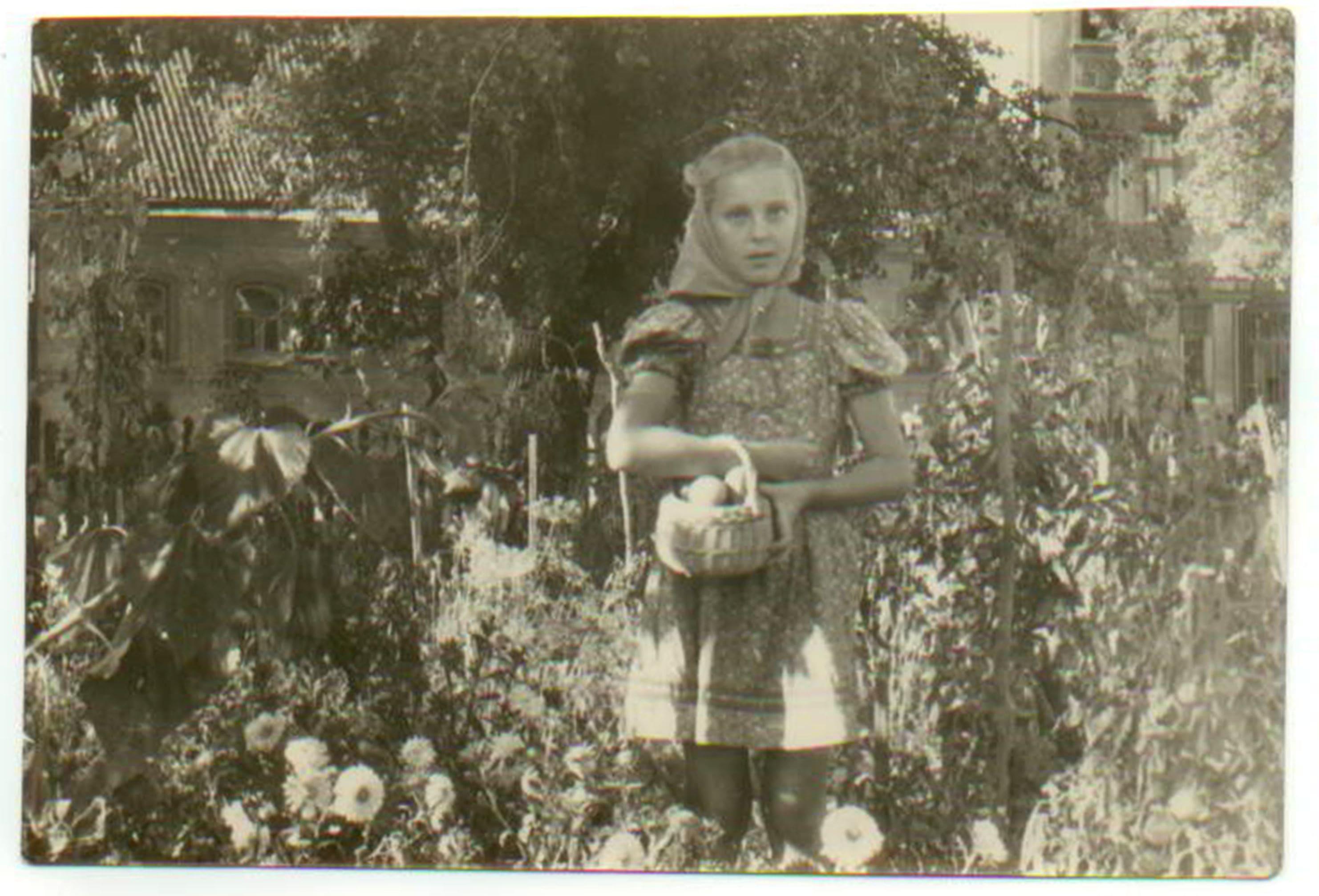 Pomidorų auginimas Vilniaus kiemuose. Sigita po 1948 m. Nuotrauka iš šeimos archyvo